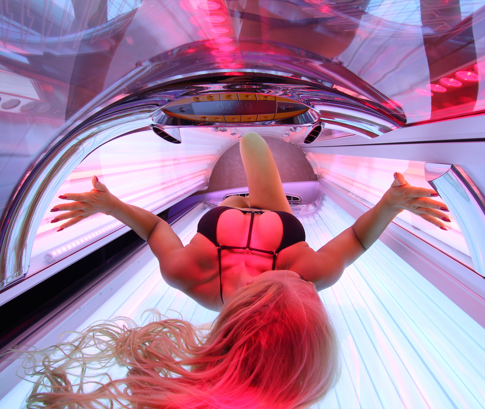 blonde girl in solarium